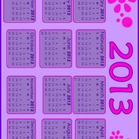 2013 Pink and Violet Calendar