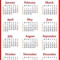 2013 Red Calendar