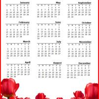 Printable 2013 Red Flowers Calendar - Printable Yearly Calendar - Free Printable Calendars