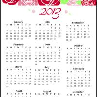 Printable 2013 Roses Calendar - Printable Yearly Calendar - Free Printable Calendars