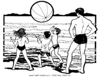 Dad and Kids at the Beach