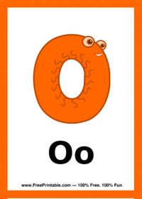Letter O Creature Flash Card