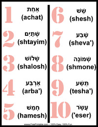 Hebrew Feminine Number Chart