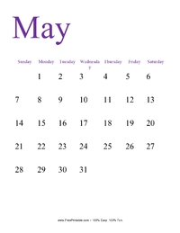 May 2017 Portrait Calendar