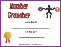 Number Cruncher Award