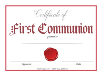 Red First Communion Certificate