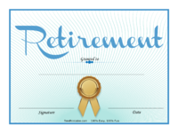 Gold Ribbon Retirement Certificate
