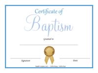 Blue Baptism Certificate