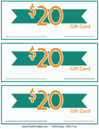 20 Dollar Monetary Gift Card
