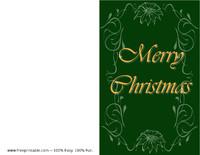 Green Poinsettia Christmas Card