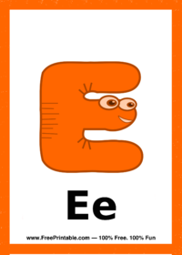 Letter E Creature Flash Card