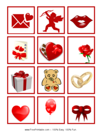 Valentine's Day Bingo Tiles