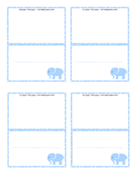 Blue Elephant Place Card