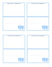 Blue Elephant Place Card