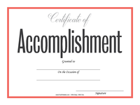 Simple Accomplishment Certificate