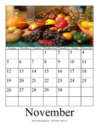 November 2017 Photo Calendar