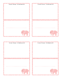 Pink Elephant Place Card