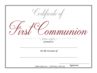 Gray First Communion Certificate