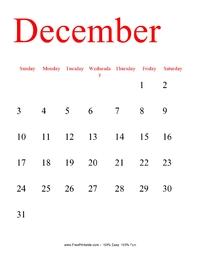 December 2017 Portrait Calendar