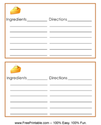 Pumpkin Pie Recipe Card