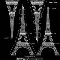 3D Black And White Eiffel Tower