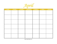 Perpetual April Calendar Color