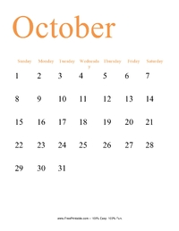 October 2017 Portrait Calendar