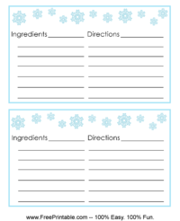 Snowflake Recipe Card