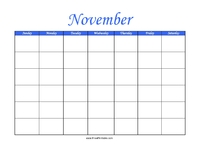 Perpetual November Calendar Color