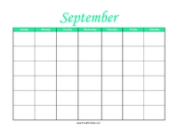 Perpetual September Calendar Color