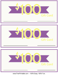 100 Dollar Monetary Gift Card