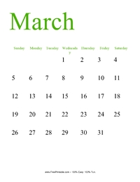 March 2017 Portrait Calendar