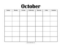 Perpetual October Calendar