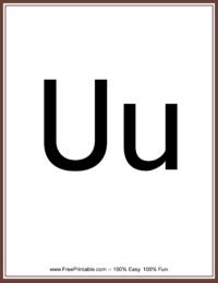 Flash Card Letter U