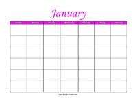 Perpetual January Calendar Color
