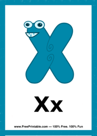 Letter X Creature Flash Card