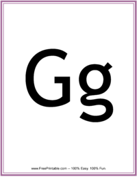 Flash Card Letter G