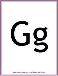 Flash Card Letter G