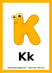 Letter K Creature Flash Card