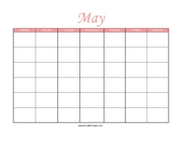 Perpetual May Calendar Color