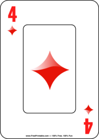 Four of Diamonds Playing Card
