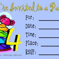 Printable 4th Birthday Party Invitation - Printable Birthday Invitation Cards - Free Printable Invitations