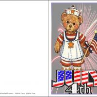 Printable 4th Of July Bear - Printable Greeting Cards - Free Printable Cards