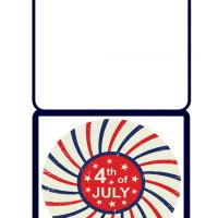 Printable 4th of July Red and Blue Rays - Printable Greeting Cards - Free Printable Cards