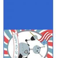 Printable 4th of July Robot - Printable Greeting Cards - Free Printable Cards