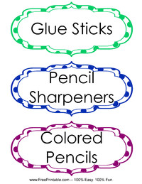Classroom Labels Colored Pencils