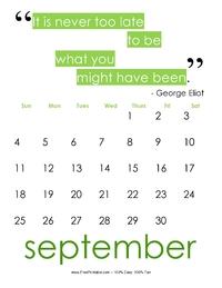September 2017 Quote Calendar
