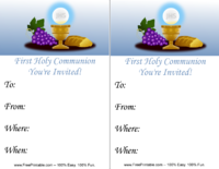 Blue Communion Invitation