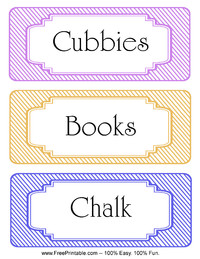 Striped Classroom Labels Books