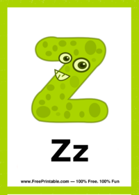 Letter Z Creature Flash Card